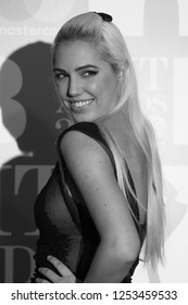 LONDON - FEB 22, 2017: ( Image digitally altered to monochrome )  Amber Le Bon attends The BRIT Awards at The O2