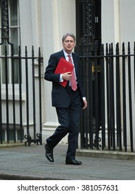 LONDON - FEB 23, 2016: Foreign Secretary Philip Hammond seen at Downing Street on Feb 23, 2016 in London