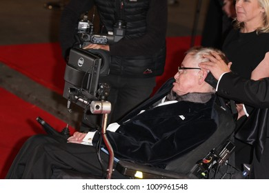 LONDON - FEB 8, 2015: Stephen Hawking attends the EE British Academy Film Awards at The Royal Opera House in London