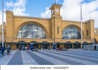 LONDON FEBRUARY 11, 2018: View of Kings Cross station in London. Also known as London King's Cross, it is a Central London railway terminus and one of the busiest railway stations in the UK.