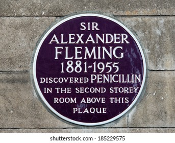 LONDON - FEBRUARY 13: Plaque commemorating the discovery of Penicillin by Sir Alexander Fleming, on February 13, 2014 at St Mary's Hospital Medical School, Paddington, London, UK.
