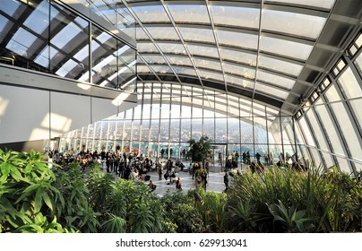 LONDON - FEBRUARY 17, 2017. The Sky Garden, an indoor park and cafe on the top of the skyscraper at 20 Fenchurch Street, designed by Rafael Vinoly, located in London, UK.