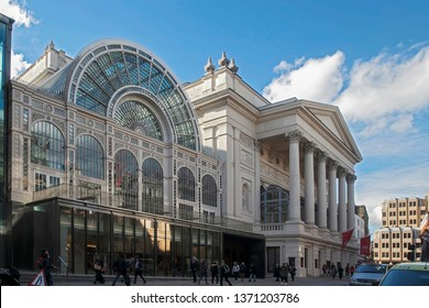 LONDON - FEBRUARY 17, 2019: Facade the Royal Opera House's Paul Hamlyn Hall glass roof in Bow Street, UK. The hall's iron and glass structure is the main public area of the Royal Opera House.