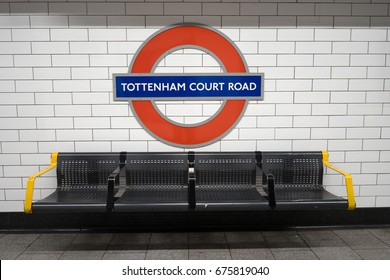 LONDON -  FEBRUARY 20, 2017: Tottenham court road station. London Underground is the 11th busiest metro system worldwide with 1.1 billion annual rides