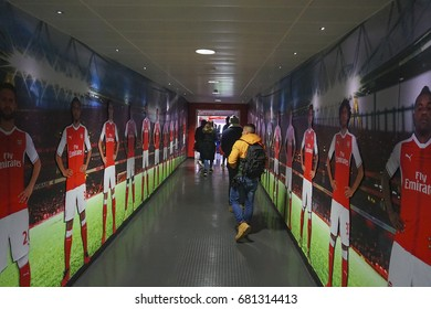 LONDON, FEBRUARY 2017: Interior of the famous Arsenal Stadium & Museum. A visitor can see the state-of-the-art interior, come across with exciting exhibits and learn the history of the team.