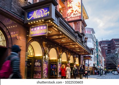 LONDON- FEBRUARY, 2018: Exterior of the Prince Edward theatre showing Aladdin. A popular musical in London's West End
