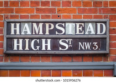 LONDON- FEBRUARY, 2018: Hampstead High Street street sign NW3. A picturesque and popular high street in North West London.