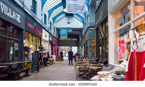 LONDON- FEBRUARY, 2018: Interior of Brixton Village, a vibrant indoor food, fashion and vintage market in south west London