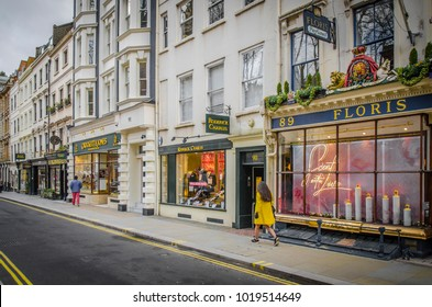 LONDON- FEBRUARy, 2018: Jermyn Street shopping scene, an upmarket shopping street famous for tailoring shops