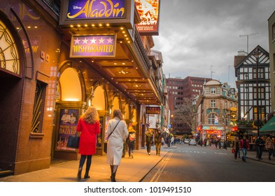 LONDON FEBRUARY 2018 People Walking Past The Prince Edward Theatre In Soho
