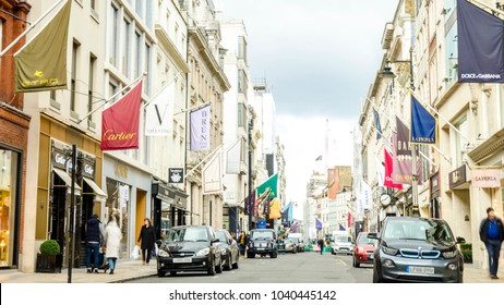 LONDON- FEBRUARY, 2018: View of Bond Street in Mayfair, a luxury famous shopping street with expensive brands, jewellers and art galleries