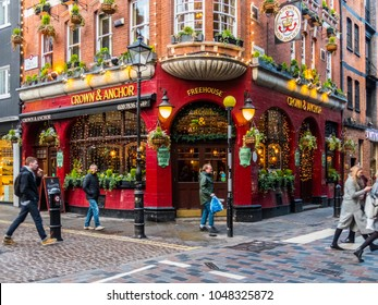 London. February 2018. A view of the Crown and Anchor pub on neal street in Covent Garden.