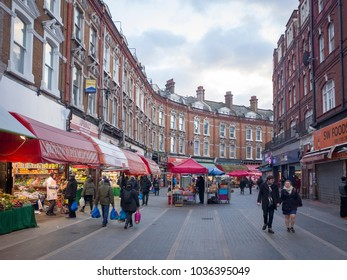 LONDON- FEBRUARY, 2018: View of Electric Avenue, a famous high street in Brixton, south west London with a daily outdoor market selling world foods.