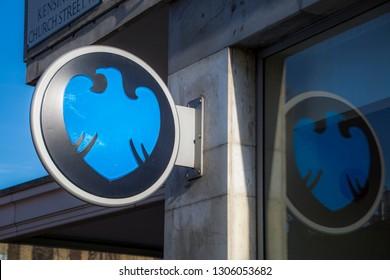 LONDON- FEBRUARY, 2019: Barclays high street bank branch logo, a British multinational bank