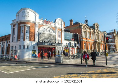 LONDON- FEBRUARY, 2019: Brixton Picturehouse cinema, bar and library. A prominent building in the centre of Brixton, south west London