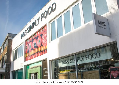 LONDON- FEBRUARY, 2019: Exterior of a Marks & Spencer Simply Food high street store
