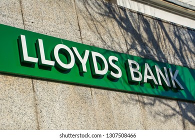 LONDON- FEBRUARY, 2019: Lloyds bank exterior signage on high street branch in west London