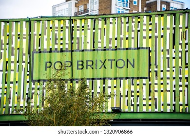 LONDON- FEBRUARY, 2019:  Pop Brixton, a collective of retailers and street food outlets set in reused shipping containers in Brixton, south west London.