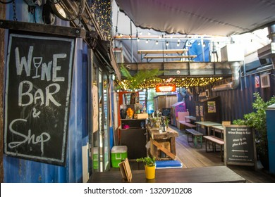LONDON- FEBRUARY, 2019:  Pop Brixton,  venue interior,  a collective of retailers and street food outlets set in reused shipping containers in Brixton