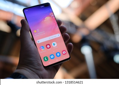 LONDON, FEBRUARY 2019 -recently launched Samsung Galaxy S10 smartphone is displayed for editorial purposes.