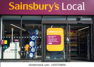 LONDON- FEBRUARY, 2019: Sainsbury's Local store exterior, a large British food retailer