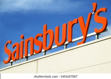 LONDON- FEBRUARY, 2019: Sainsbury's supermarket sign. A large chain of Supermarkets based in the UK