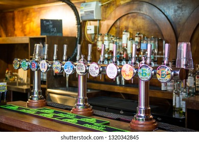 LONDON- FEBRUARY, 2019: A selection of independent beers and ales inside Pop Brixton , part of Brixton Market