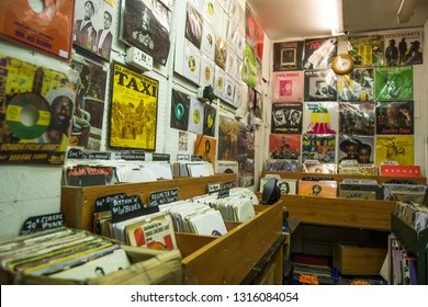 LONDON- FEBRUARY, 2019: A small reggae music stall inside Reliance Arcade, Brixton, a vibrant area in south west London
