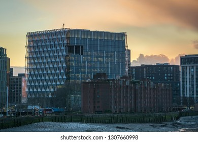 LONDON- FEBRUARY, 2019: The United States Embassy building in Nine Elms, Wandsworth