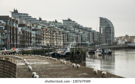 LONDON- FEBRUARY, 2019: View of Battersea Reach- a riverside residential building development in Wandsworth