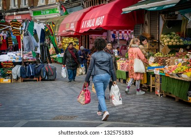 LONDON- FEBRUARY, 2019: View of Brixton Market on Electric Avenue, a famous high street in Brixton, south west London.