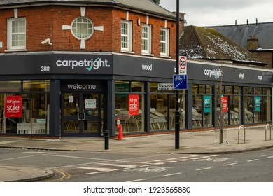 London- February, 2021: Carpet Right store in Ealing Common, a British chain of carpet retailers