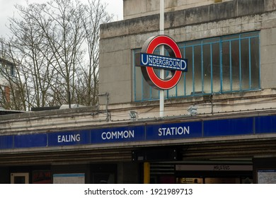 London- February, 2021: Ealing Common underground station in West London