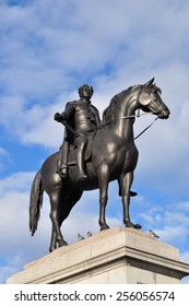 LONDON - FEBRUARY 21. The 1828 statue of King George IV by sculptor Sir Francis Chantrey on February 21, 2015, located on the north east  plinth in Trafalgar Square, central London, UK.