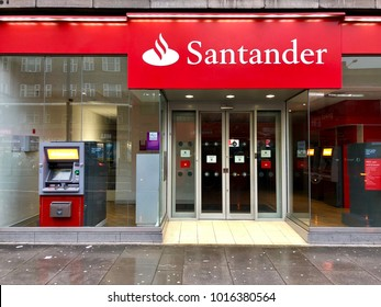 LONDON - FEBRUARY 3, 2018: Santander bank on Finchley Road, Swiss Cottage, North London, UK.