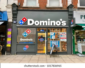 LONDON - FEBRUARY 5, 2018: Domino's Pizza take away pickup and delivery shop in West Hampstead, London, UK.