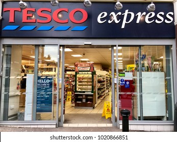 LONDON - FEBRUARY 5, 2018: Tesco Express on the high street in West Hampstead, London, UK.