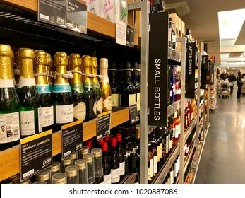 LONDON - FEBRUARY 7, 2018: Alcohol for sale at Marks and Spencer on Oxford Street in London, UK.