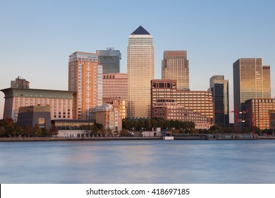 London Financial District, Canary Wharf, at Dusk