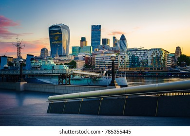 London financial district during sunrise