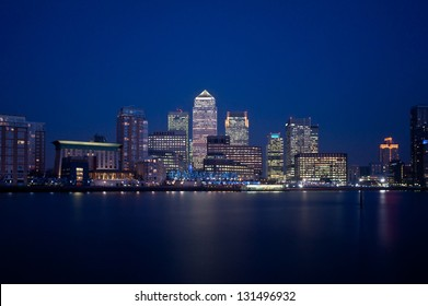 London financial district skyline at night