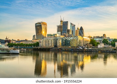 London financial district at sunrise