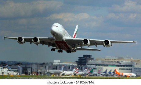 London Gatwick Sussex UK August 2018  Emirates Airbus A380 departing the airport.