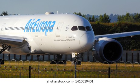 London Gatwick Sussex UK June 2018 Air Europa Boeing 787 first visit taxes to take off  on runway 08R