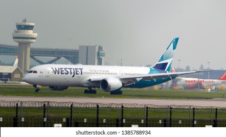 London Gatwick Sussex UK May 1st 2019 : New route for the Westjet 787 replacing the older 767 aircraft