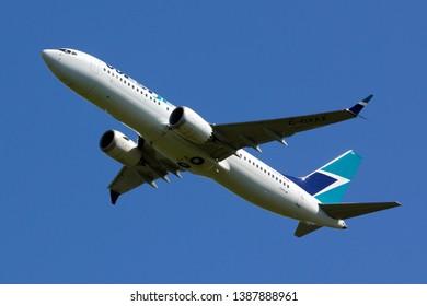 London Gatwick UK May 2018 : Westjet Boeing 737 max leaving Gatwick going to Halifax.