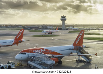 London Gatwick, UK - Nov 23rd, 2017:  Easyjet airplanes at London's Gatwick airport - SouthTerminal