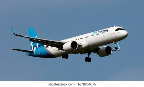 London Gatwick West Sussex UK March 21st 2020 : Air Transat A321neo landing at the airport