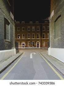 London Gower Mews by night, Perspective photo of narrow street, Georgian architecture