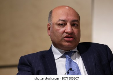 London, Great Britain - 26 February 2018: President of EBRD Suma Chakrabarti participates in the Western Balkans Investment Summit Prime Ministers' Session in European Bank (EBRD).